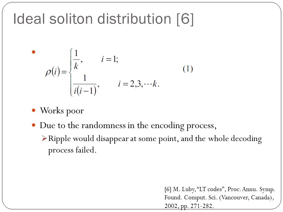 Ideal soliton distribution [6]